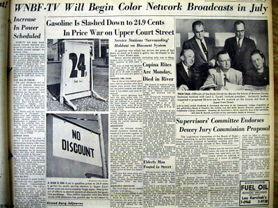 1954 newspaper NETWORK COLOR TELEVISION BROADCASTING begins in BINGHAMTON NY