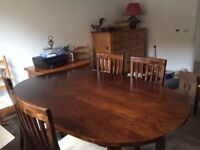 Laura Ashley Garrat chestnut extending oval table and six dining chairs