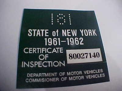 new york 1961-1962 registration inspection sticker windshild