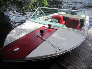 Fiber glass boat with trailer and motor