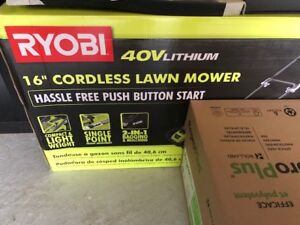 Ryobi 40V 16 inch Battery Powered Lawn Mower, Trimmer & Charger