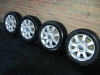 ALLOY WHEELS + TYRES FOR VW GOLF ( 5 STUD ). 205/55 X 16 (SET OF 4 )