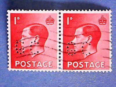 "GB. KEVIII 1936 1d Scarlet. SG458. Wmk W125. P15 x 14. Used pair. ""GC"" perfin."