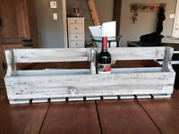 wood pallet wine rack and wine glass holder