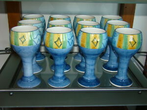 Ceramic Wine Goblets with Tray