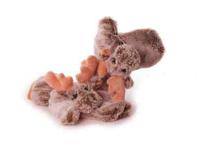 Kinderhandschuhe Fäustlinge Elch beige braun Tiermotiv 5-10 Jahre - Tier Handschuhe Braun