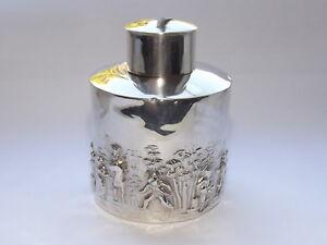ANTIQUE EDWARDIAN CHARLES HORNER SOLID SILVER STERLING TEA CADDY BIRMINGHAM 1905