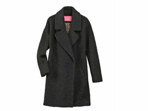 Betsey Johnson Teddy Wool Notch-Collar Boucle Coat Black Small