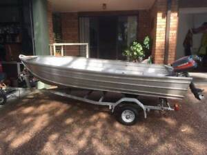 12 foot Tinnie with 5hp motor on trailer
