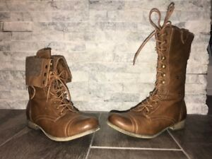 Women's Brown Soft Moc Combat Boots (Adjustable Height)