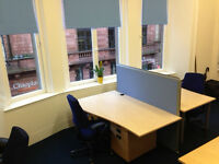 2 Desk Spaces available in Glasgow City Centre for £100 for first 3 months then £125 thereafter +Vat
