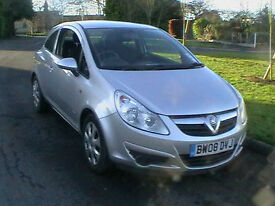08 REG VAUXHALL CORSA 1.2i 16v 3 DOOR HATCHBACK IN METALLIC SILVER HPI CLEAR