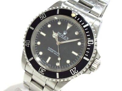 Auth ROLEX Submariner 14060 Black Silver E947077 Men