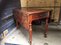 ANTIQUE DROP LEAF DINING TABLE WITH DRAWER FOR SALE £65 ono. Good Solid Condition,Can Deliver