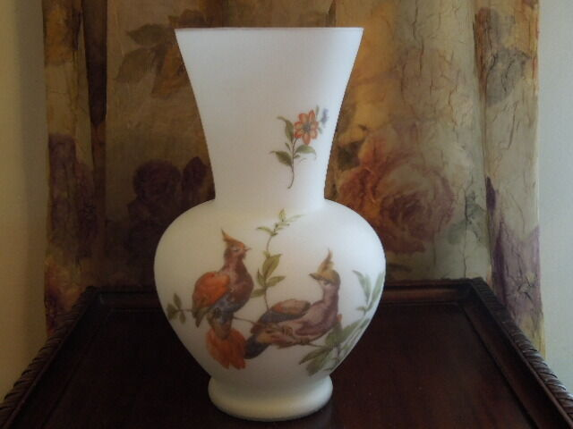 Norleans Handmade Vintage Frosted Glass Vase  ~ Birds of Paradise