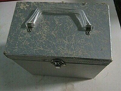 45 RPM RECORD CASE CAPITOL CARDBOARD HAS PLASTIC HANDEL HOLDS 50 RECORDS SILVER