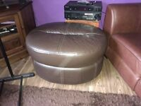 Large Brown Leather pouffe