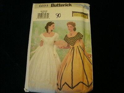 Oop Uncut Bürgerkrieg Ära Kleid Kostüm Nähmuster Butterick #6693 P4