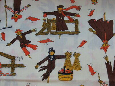 Vintage Halloween Material (Vintage Fabric Halloween scarecrow print  44
