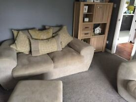 Two 2 seater sofa and footstool from sofology. 2 years old. Excellent condition. Non smoking home.