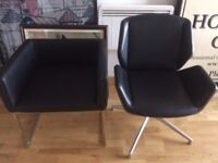 2 x Leather Designer Chairs Chrome and Wood
