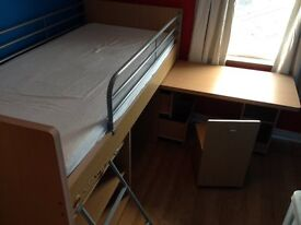 single kids bed with pull out table, ladder,chair and matteress.