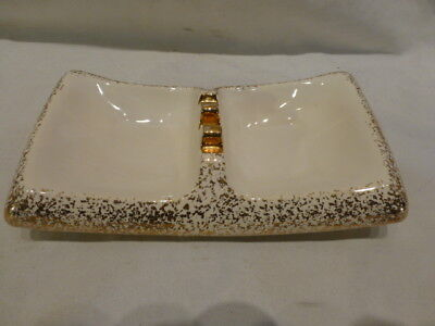 ASHTRAY Savor China 24K GOLD MADE IN U.S.A.1940 Cigarrette Cigar Ivory Gold $185