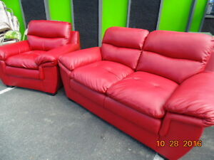 Red Leather Love Seat & Chair(TRAIL)