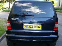 MERCEDES BENZ ML270 CDI DIESEL AUTOMATIC 53 REG LEATHER SUV 4WD 12 MONTHS MOT