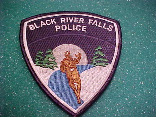BLACK RIVER FALLS WISCONSIN POLICE PATCH SHOULDER SIZE UNUSED TYPE 1