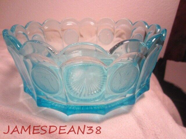 """BLUE FOSTORIA COIN GLASS 7.25"""" BOWL"""