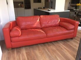 Red Leather Sofa (DFS)