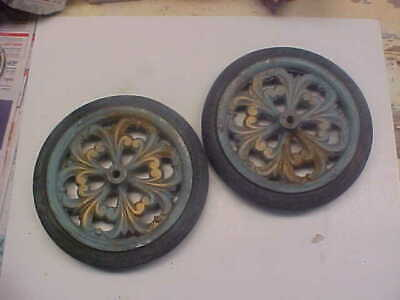 2 Old Vintage Wheels For Chaise Lounge Or Teacarts Outside Furniture
