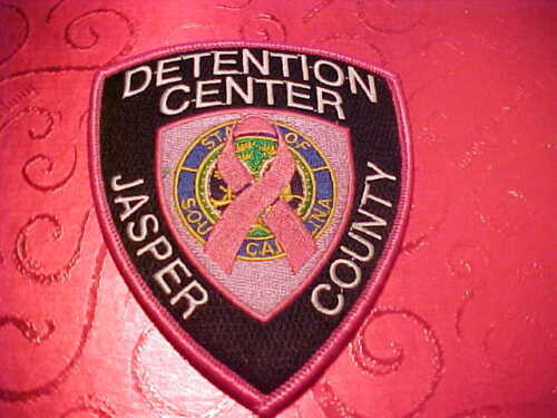 JASPER COUNTY SOUTH CAROLINA JAIL PINK CANCER POLICE PATCH SHOULDER SIZE UNUSED