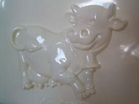 Plaster Mold - Swiss Cow complete with bell