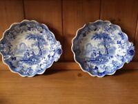 Beeston Priory Blue and White china dishes
