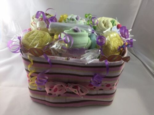 BABY SHOWER GIFT BASKET OF GOODIES (CLOTH CUPCAKES & CANDY ROLLS)