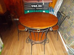 Wood and Metal Bistro Table and Chairs