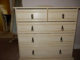 Stunning Shabby Chic Solid Wood Large Chest Drawers Painted in Annie Sloan Chalk Paint