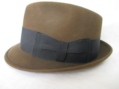 Vintage Knox Fedora New York * brown - slightly olive  Hat  size 7