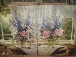 REDUCED! LOVELY SHABBY CHIC FLORAL OIL PAINTING PAIR, MINT NEW