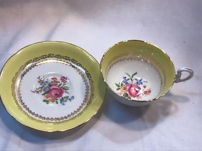 Royal Grafton Cup & Saucer Set Fine Bone Vintage China Made in England Yellow