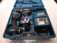 Makita Combi Drill and Impact Driver Set with 2 batteries, fast charger New Dewalt Drill Bit Set!!!