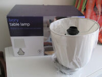 Tesco Set of 2 Brushed Stainless Steel Table Lamps brand new boxed, ivory or grey lampshade, bedside
