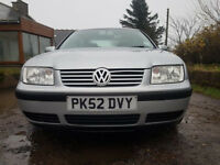 52 Reg VW Bora S 1.6 Petrol,24400 MILES ONLY,1 Owner,1 Year MOT