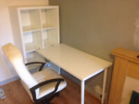 White IKEA desk combination + white leather desk chair. All used but in good condition.