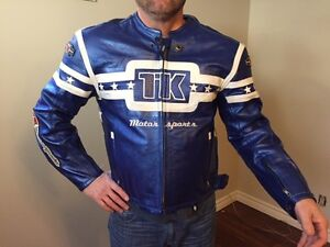 men's blue leather motorcycle jacket