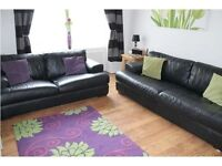 Genuine Black Leather Sofa (3 seater and 2 seater)