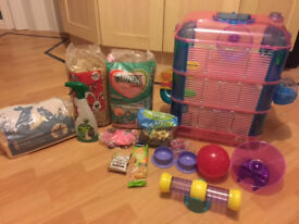 *** 3 STOREY HAMSTER/GERBIL CAGE WITH TUBES *** PLUS ACCESSORIES, FOOD,TREATS, BALL,SILENT WHEEL ETC
