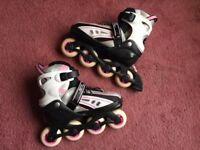 Girls' pink, white & black SFR vortex inline roller skates, size 3-6, VGC